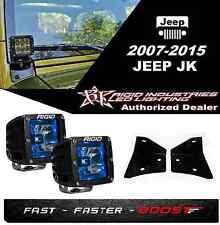 Rigid Radiance Pod Blue & A-Pillar Mount Kit For 2007-2015 Jeep JK