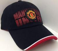 manchester united cap soccer hat red new black adjustable mufc official license