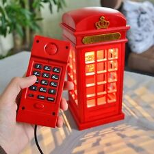 LED Telephone Booth Shape Home Wired Phone Booth Table Lamp
