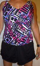 Rodan Swimwear 16W Slimming 1-Piece Swimsuit w/Underwire Bra —multi color jogger