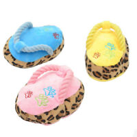 Dog Chew Toy Cute Puppy Magnetic Pet Playing Squeaker Sound Plush Slippers Shape