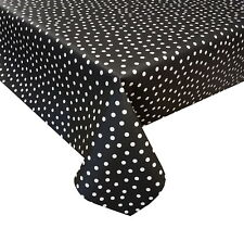 ACRYLIC COATED TABLE CLOTH FANTASY DOTS BLACK WHITE RANDOM SPOTS WIPE ABLE COVER
