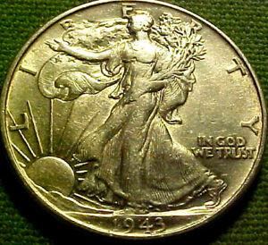 1943 Walking Liberty Half Dollar 50 Cents 50c ~ BRIGHT CRYPTO WHITE NR BU 82AJ
