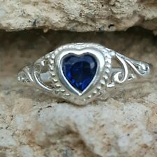 .925 Sterling Silver Ring size 3 Heart Baby Kids Blue Sapphire Midi Ladies New