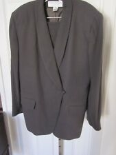 Rena Rowen for Seville Olive Green /Grey 2 Pc. Skirt Suit Size 14