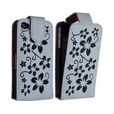Housse étui coque pour Apple Iphone 4 couleur blanc motif fleurs + film protecte