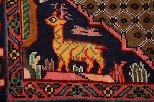 Geometric Animal Pictorial Koliaei Hamedan Area Rug Wool Hand-knotted Carpet 3x5