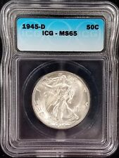 1945 D Walking Liberty Half Dollar certified MS 65 by ICG!