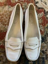 TOD'S WOMENs WHITE LEATHER MOCS LOAFER SHOES SIZE 38 NICE CONDITION