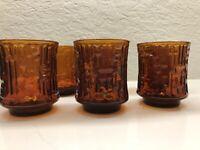 "Glass ARTICA  Amber Old Fashioned Rocks Glasses 9 oz 3¼"" Geometric"