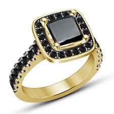 Fashion princess square black zircon gold wedding ring jewelry gift Size 7