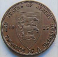 1923 Jersey George V, 1/12 Shilling, KM.12, Brown Grading  About UNCIRCULATED