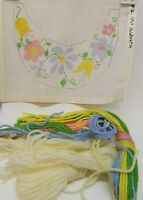 Needlepoint Canvas Floral Design with Crewel Wool & Needle Flowers