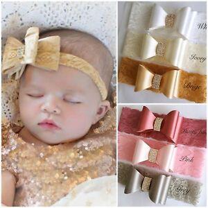White Ivory Rhinestone Baby Hair Band Satin Lace Bow Baptism Wedding Christening