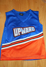 UPWARD Cheerleading Uniform TOP Size YOUTH MEDIUM - Blue Orange White