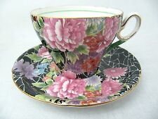 SHELLEY CUP AND SAUCER - OLD CAMBRIDGE SHAPE - BLACK CRACKLE CHINTZ 0199