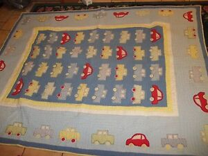 Vintage POTTERY BARN KIDS Transportation Cars Truck Twin Comforter/Blanket Quilt