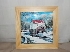NEW WINTER OLD GRIST MILL SCENE TRIVET HOT PLATE HOLDER WALL DECOR OAK & TILE 8""