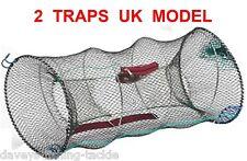 2 UK CRAYFISH TRAPS+LINE LIVE BAIT CAGE KEEP NET POT CRAB SHRIMP PRAWN LOBSTER