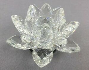 15cm Rotatable Crystal Clear Lotus Flower Wedding Gift Home Decoration