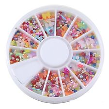 3D Nail Art Decoration Pearl Rhinestones Spangles Beads Bows Kawaii 500 Pieces