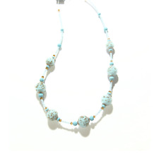 Murano Glass Turquoise Copper Ball Silver Necklace, Venetian Glass Jewelry