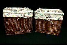 Large Brown Toy Laundry Wicker Basket w/ Pink Floral Liner 12x12x10 Light Dark