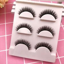 3 Pairs Makeup Handmade Natural Thick False Eyelashes Short Eye Lashes Extension