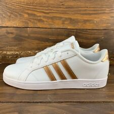 Adidas Baseline Girls/Womens Sneaker White/ Copper Stripes -AQ0783 NEW