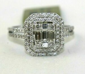 3 Ct Emerald & Round Diamond Cluster Square Wedding Ring 14K White Gold Finish.