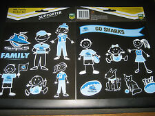 NRL CRONULLA SHARKS Family Sticker Set - 14 per pack - NEW