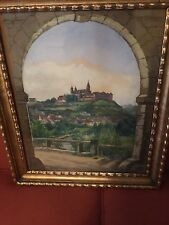 BEAUTIFUL! ANTIQUE GEORGE GEORG SCHMIDT ORIGINAL GOUACHE PAINTING GERMAN? CASTLE