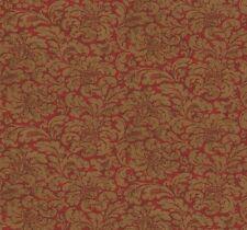 Wallpaper Designer Gold Damask Print on Red Faux
