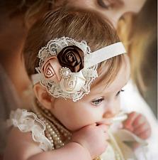 Baby GIRL Avorio//biancastro BATTESIMO Cerchietto Battesimo Matrimonio Pizzo Hairband fiocco
