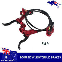 ZOOM MTB Mountain Bike Hydraulic Disc Brake levers Calipers Front Rear Set Red