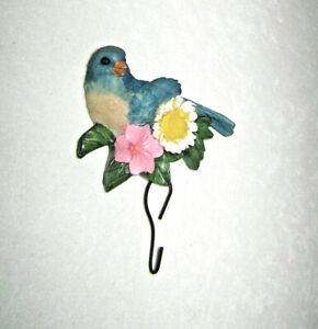 1980's Bluebird & Flowers Key Holder Hook