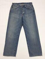 Armani jeans donna usato relaxed gamba dritta blu usato denim boyfriend T3743