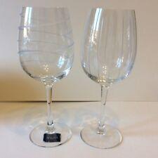 MIKASA tall white wine glasses cheers vertical stripe & spiral 16oz cut glass