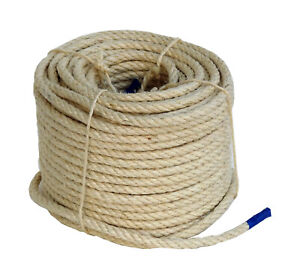 50m Sisalseil 6mm Trosse Sisal Seil Tau unbehandelt ungebleicht Farbe: natur