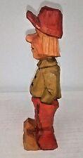 "Carved Wood Figurine Signed Meyers Man In Red Cap 6"" Folk Art"