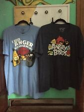 LOT OF 2 ANGRY BIRDS Men's T-Shirts Size 2XL, W /graphics Blue Light Blue