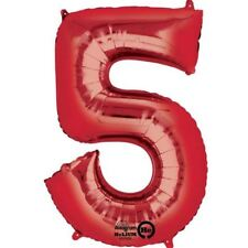 """34"""" 86cm Red Giant Foil Number 5 Numeral Helium Balloons Birthday Age Date"""