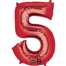 86.4cm 86cm Rojo Gigante Metalizado Número 5 Globos de Helio Cumpleaños Edad