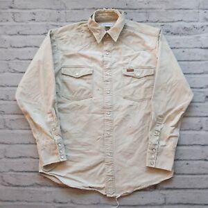 Vintage Carhartt Distressed Pearl Snap Western Work Shirt Size M Wip