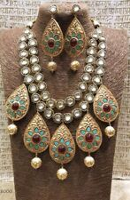 Indian Traditional Gold Tone Bollywood Necklace Earring Kundan Jewelry sets-O10