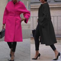UK Womens Overcoat Wool Trench Parka Coat Ladies Winter Warm Long Jacket Outwear