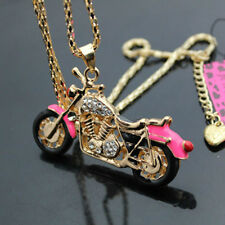 D568F  Betsey Johnson Crystal Enamel Motorcycle Pendant Sweater Chain Necklace