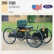 1896 FORD QUADRICYCLE Classic Car Photograph / Information Maxi Card