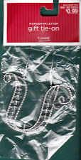 "Christmas Monogram Gift Tie-On - Silver Colored Wire & Clear Beads - New - ""U"""