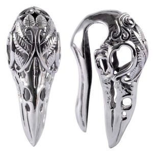 Steel Eagle Skull Ear Weight Expander Ear Gauge Ear Tunnel Lobe Piercing Jewelry